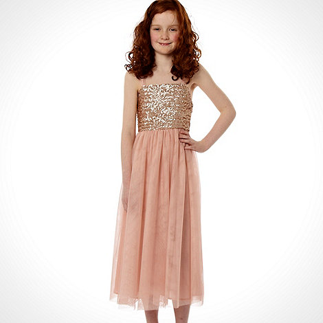 Butterfly by Matthew Williamson - Designer girl+s pink sequinned mesh dress