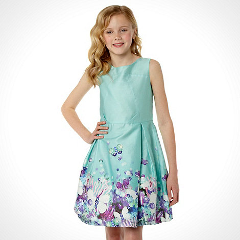 Butterfly by Matthew Williamson - Designer girl+s aqua butterfly hem dress