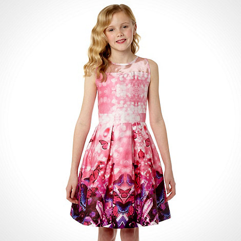 Butterfly by Matthew Williamson - Designer girl+s pink mirrored butterfly printed prom dress