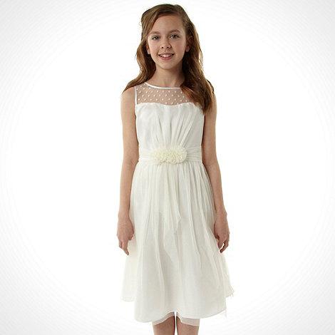 No. 1 Jenny Packham - Designer girl+s ivory mesh insert dress