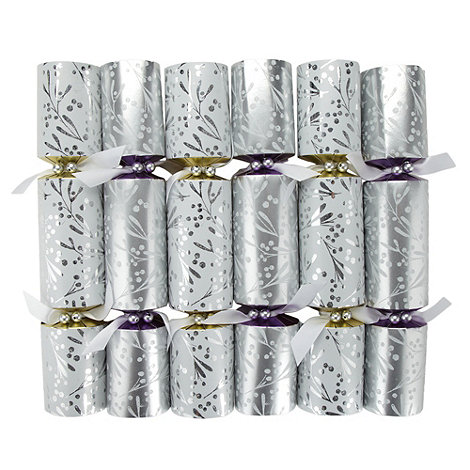 Debenhams - Set of 12 silver mistletoe luxury Christmas crackers
