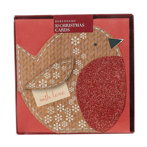 Debenhams - Pack of 10 robin Christmas cards