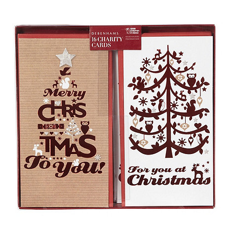 Debenhams - Pack of 16 retro charity Christmas cards