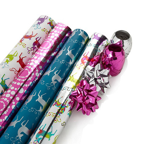 Debenhams - Silver reindeer Christmas wrapping paper set