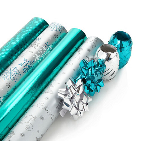 Debenhams - Silver and turquoise Christmas wrapping paper set
