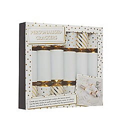 Debenhams - Pack of 6 white personalised Christmas crackers