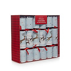 Debenhams - Pack of 12 Light Blue 'Prancing Reindeer' Christmas Crackers