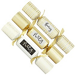 Debenhams - Pack of 6 white and gold 'Party' Christmas crackers