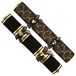 Debenhams - 6 Premium Black And Gold Christmas Crackers