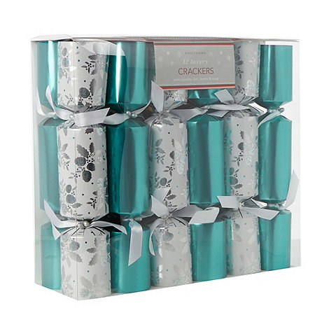 Debenhams - Pack of 12 luxury teal mistletoe Christmas crackers