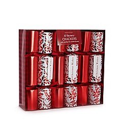 Debenhams - Set of 12 luxury red holly printed and foil crackers