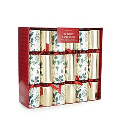 Debenhams - Set of 12 luxury gold foil and holly crackers