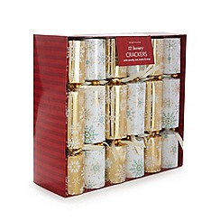 Debenhams - Set of 12 luxury gold and white snowflake crackers