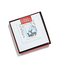 Debenhams - Set of eight 3D glitter stag Christmas cards
