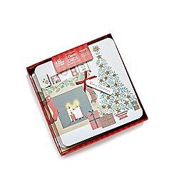 Debenhams - Set of eight fireplace scene charity Christmas cards