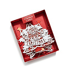 Debenhams - Set of five red glittery tree Christmas cards
