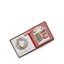 Debenhams - Set of ten wreath and window scene charity Christmas cards