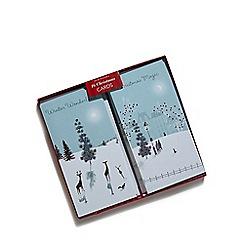 Debenhams - Set of 16 woodland and town snow scene Christmas cards