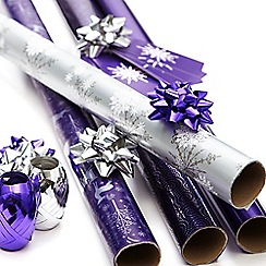 Debenhams - Purple Christmas wrapping paper set