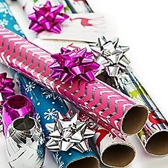 Debenhams - Multicoloured printed Christmas wrapping paper set