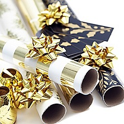 Debenhams - Gold Christmas wrapping paper set