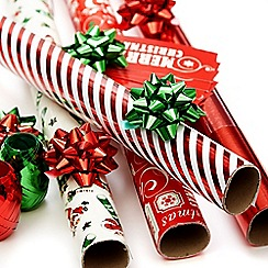 Debenhams - Red Christmas wrapping paper set