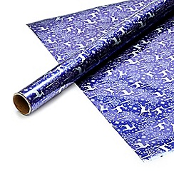 Debenhams - Four metre purple stags gift wrap