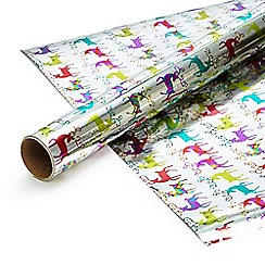 Debenhams - Four metre foil bright stags gift wrap