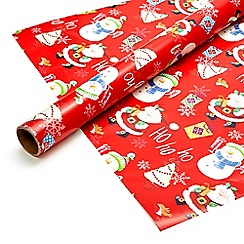 Debenhams - Eight metre red Christmas wrapping paper