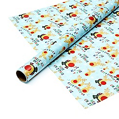 Debenhams - Eight metre blue 'Rudolph' gift wrap