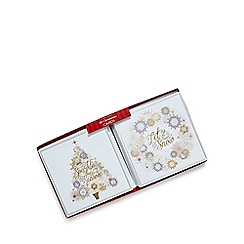 Debenhams - Set of ten gold tree and wreath Christmas cards