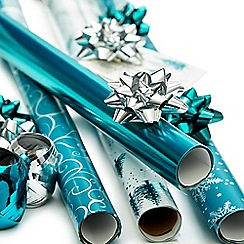 Debenhams - Teal Christmas wrapping paper set