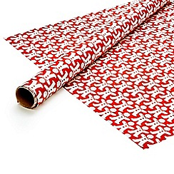 Debenhams - Eight metre red Christmas gingerbread man wrapping paper