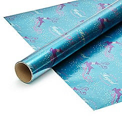 Debenhams - Four metre turquoise Christmas wrapping paper