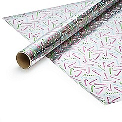 Debenhams - Four metre silver Christmas wrapping paper
