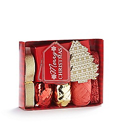 Debenhams - Red and gold Christmas gift wrap accessory set