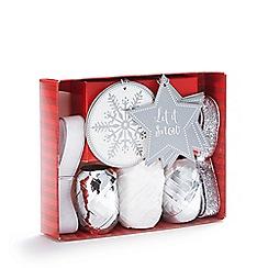 Debenhams - Silver and white Christmas gift wrap accessory set