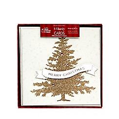 Debenhams - Pack of eight gold Christmas tree print charity cards
