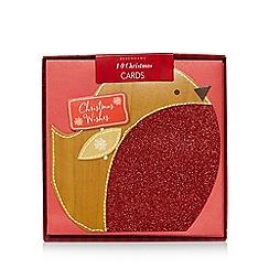Debenhams - Pack of ten red robin print Christmas cards