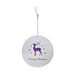 Debenhams - Set of eight silver reindeer print Christmas gift tags
