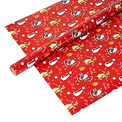 Debenhams - Red Christmas print 8 metre wrapping paper