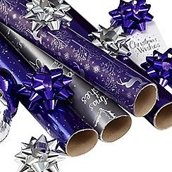 Debenhams - Purple and silver gift wrap multipack