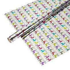 Debenhams - Silver reindeer print 4 metre wrapping paper
