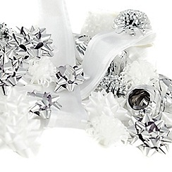 Debenhams - Set of 30 silver ribbon, decorative bows and curling ribbons