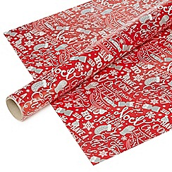 Debenhams - Red Christmas themed 8 metre wrapping paper