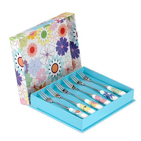 Portmeirion - Set of six porcelain and stainless steel +Crazy Daisy+ pastry forks