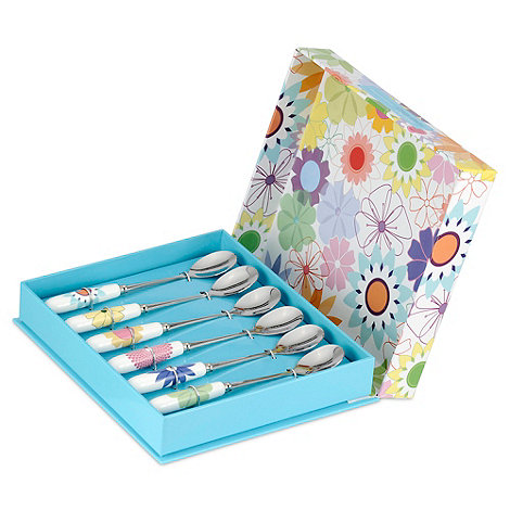 Portmeirion - Set of six porcelain and stainless steel +Crazy Daisy+ teaspoons