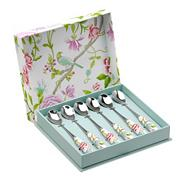 Set of six porcelain and stainless steel 'Sanderson' teaspoons