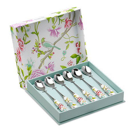 Portmeirion - Set of six porcelain and stainless steel +Sanderson+ teaspoons