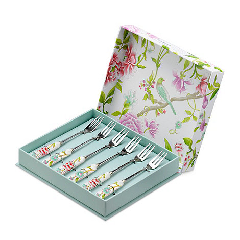 Portmeirion - Set of six porcelain and stainless steel 'Sanderson' pastry forks